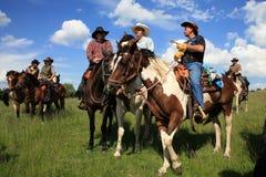 västra cowboyhästkapplöpning Arkivfoto