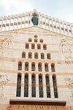 Västra fasad av basilikan av förklaringen, kyrka av förklaringen i Nazareth Fotografering för Bildbyråer