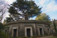 Västra Highgate för Libanon cirkel kyrkogård Arkivbilder