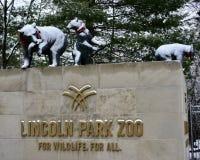 Västra ingång till Lincoln Park Zoo arkivbilder