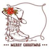 Västra julhälsningkort med traditionella kängor för cowboy stock illustrationer