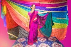 Västra kvinna med indisk kläder sari royaltyfri fotografi