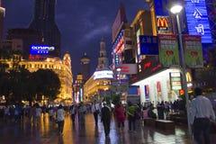 västra nanjing shanghai gata Fotografering för Bildbyråer
