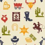 Västra och sömlös bakgrundsmodell för rodeo royaltyfri illustrationer