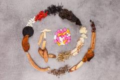 Västra och traditionell spiral för kinesisk medicin Royaltyfri Bild