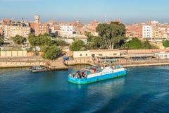 Västra Qantara färja i Egypten arkivfoto