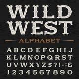 Västra retro smutsig alfabetvektorstilsort Arkivbild