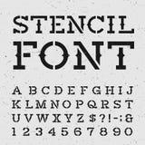 Västra retro stilsort för alfabetvektorstencil Royaltyfri Foto