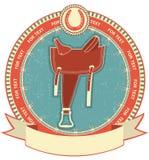 Västra sadel på etikettbakgrund royaltyfri illustrationer