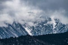 V?stra Sichuan, Kina, nedg?ngar f?r sn?bergmoln royaltyfri bild