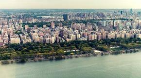 Västra sida av Manhattan, flyg- sikt från helikoptern royaltyfri foto