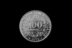 Västra silver 100 - afrikanskt francmynt Royaltyfri Fotografi