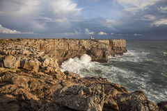 Västra slut av Europa, Ponta de Sagres, Portugal Arkivfoton