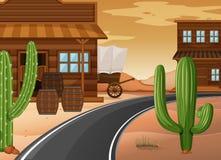 Västra stad med byggnader och kaktuns stock illustrationer