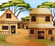 Västra stad med träbyggnader Arkivfoton
