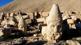 Västra terrass av Mount Nemrut, Turkiet arkivfilmer