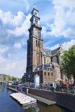 Västra torn i Amsterdam den gamla staden. Fotografering för Bildbyråer