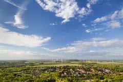 Västra - tyskt landskap för vindenergi fotografering för bildbyråer