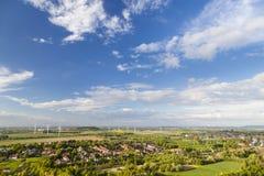 Västra - tyskt landskap för vindenergi royaltyfri fotografi