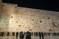 Västra vägg (den att jämra sig väggen), Jerusalem på natten Fotografering för Bildbyråer