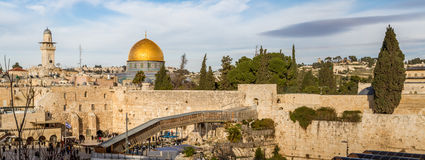 Västra vägg och kupol av vagga, Jerusalem Arkivfoto