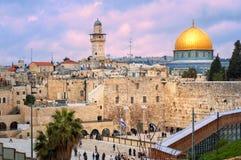 Västra vägg och kupolen av vagga, Jerusalem, Israel Royaltyfria Foton