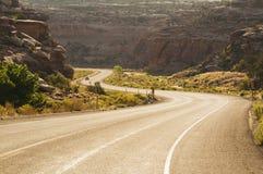 västra vägsolnedgång Arkivfoton