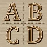 Västra vektor för tappning för alfabetdesignbokstäver arkivbild