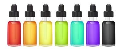 Vätska för E-cigarett Vape också vektor för coreldrawillustration Arkivfoton