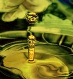 VätskedroppArt Where The Where The modeller av maträtten som vattnet faller in i, reflekteras i dropparna arkivbilder