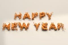 Vätskeorange ord för lyckligt nytt år med droppar på vit bakgrund vektor illustrationer