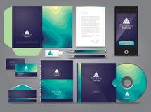 Vätskethemed grafisk affärsidentitet med mobila CD och pennan royaltyfri illustrationer