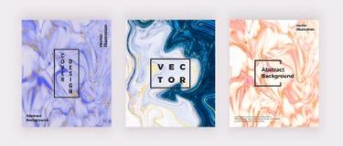 Vätskevattenfärgen marmorerar textur Virvlar skvalpar färgpulver runt, designbakgrund Moderiktig vätskemall för beröm, reklamblad royaltyfri illustrationer