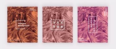 Vätskevattenfärgen marmorerar texturkortet Virvlar skvalpar färgpulver runt, designbakgrund Moderiktig vätskemall för beröm, rekl stock illustrationer