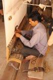 Väva för matta. Jaipur Indien. Arkivfoto