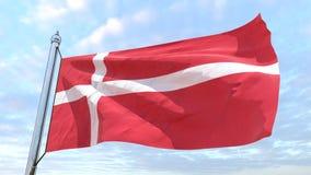 Väva flaggan av landet Danmark royaltyfri fotografi