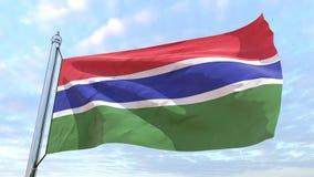 Väva flaggan av landet Gambia royaltyfri illustrationer