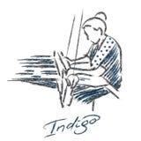 Väva logo och att brännmärka vektorn indigoblått royaltyfri illustrationer