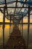 Vävd bambu för soluppgång nära Arkivfoton