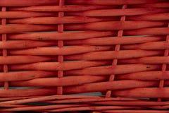 Vävd korgtextur i rött Royaltyfria Bilder