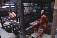 vävstol för handindia industri Arkivfoto