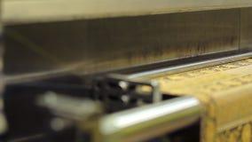 Vävstolmaskin för kläder på textilfabriken kvinnor för textil för lager för insida för industri för klädattrappkvinnlig arkivfilmer