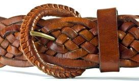 vävt läder för bältebuckla Arkivfoto