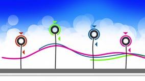 Väx animeringen för blommor för det abstrakta symbolet den plana stock illustrationer