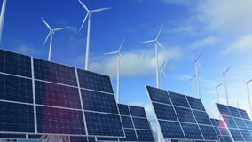 Väx byggande den upp solpanelen med vindturbiner som frambringar energi stock video