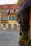 Växa för blommor på en byggnad i Rothenburg obder Tauber, Germanu royaltyfri foto