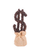 Växa för kaffedollar av säckvävsäcken Arkivfoto