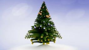Växa upp julgranen med garneringar och snö royaltyfri illustrationer