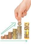 Växande besparingbegrepp Arkivbild