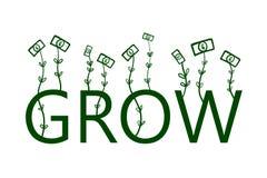 Växande dollar räcker den utdragna illustrationen för affärsdesign skrivar ut presentationsbanerbloggar och vinst för t-skjortape vektor illustrationer